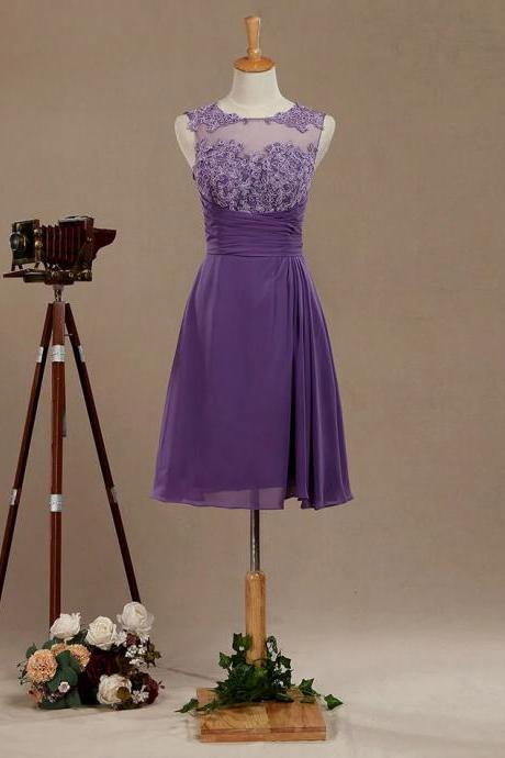 Purple Chiffon Bridesmaid Dress with Lace Appliques Neck and Buttons Back, Short See Through Jewel Neck Homecoming Dresses, Knee Length Bridesmaid/Prom/Formal Dresses